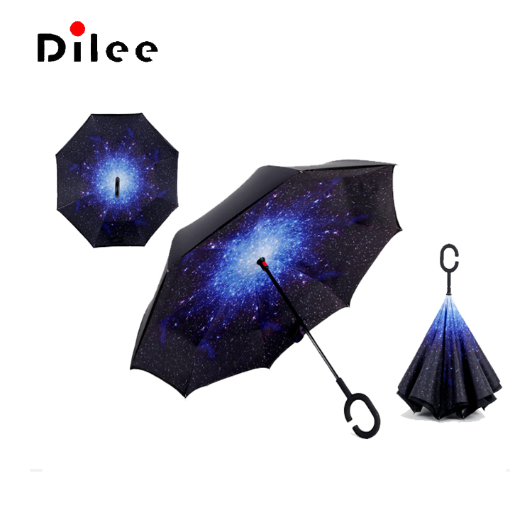 Reverse Umbrella Double Layer Inverted Umbrellas For Car Rain Outdoor With C-Shaped Handle Leaves Decoration Botanical Customized