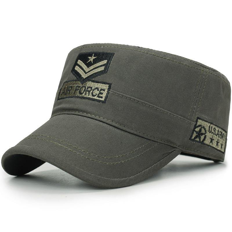 promotional cheap custom flat top army cap military hat
