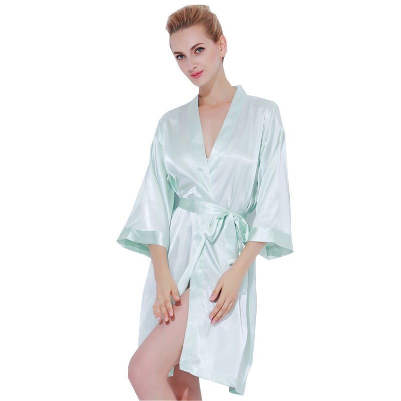 802 Pleasant Simple Style Satin Ladies Dressing Gown Bridesmaid