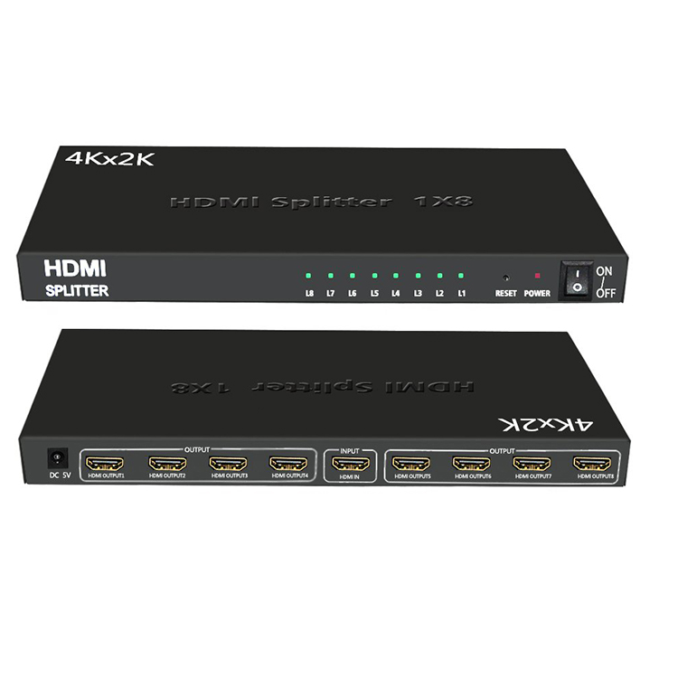 1x8 HDMI Splitter with Full Ultra HD 4K/2K and 3D Resolutions