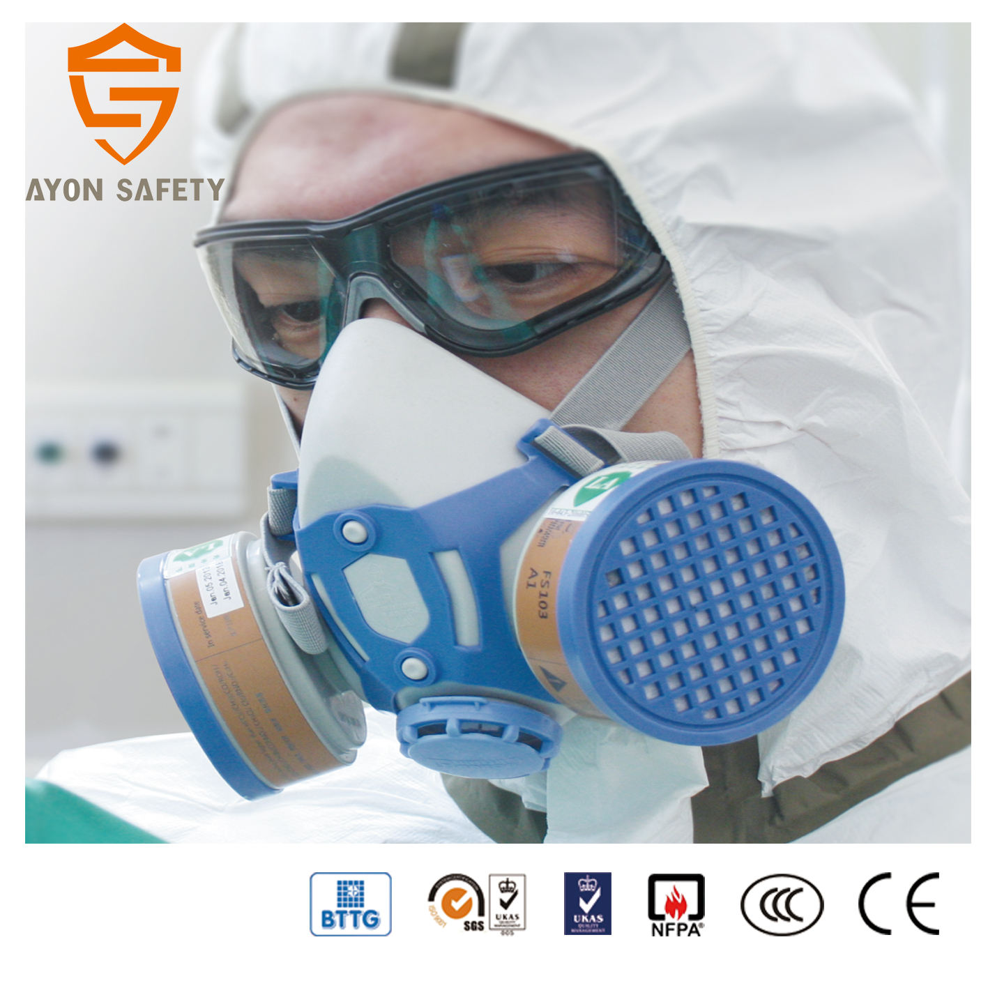 Petroleum Industry Portable Double Filter Half Face Gas Mask