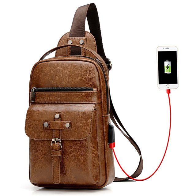 Factory retro men's chest bag PU leather fashion casual tide men's bag with USB charging socket chest backpack