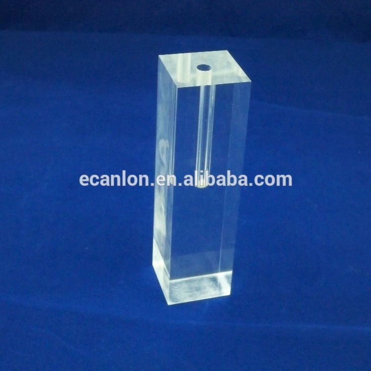 Flower vase insert of hollow acrylic block