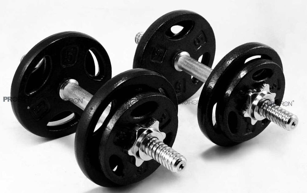 PROIRON 20kg Cast Iron Adjustable Dumbbell Set Hand Weight with Solid Dumbbell Handles Changed into Barbell