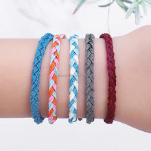 Fancy Multi Colors Wax Rope Braided Leather Cord Bracelet