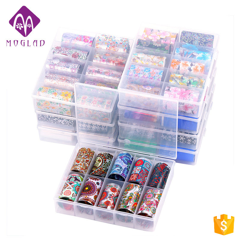 New Arrival 24 Designs TZ Series Nail 3D Sticker 10 Rolls /Box Colorful Holographic Transfer Foil Paper Decal