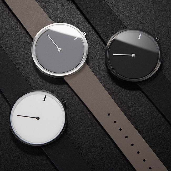 Minimalist Black Leather Strap Customize Fashion Only One Hand Quartz Watch For Men