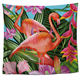 China Supplier Rectangle Custom Size Green Tropical Leaf Flamingo Printing Tapestry