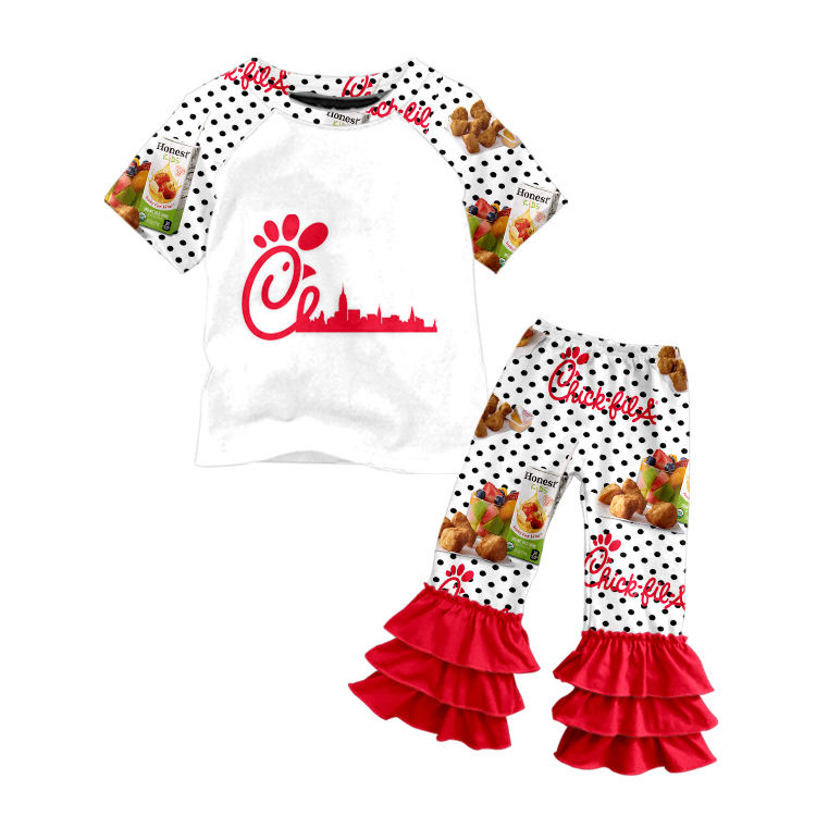 Kids fashion chick fil a shirt and ruffle pants baby girls boutique outfits summer clothes sets
