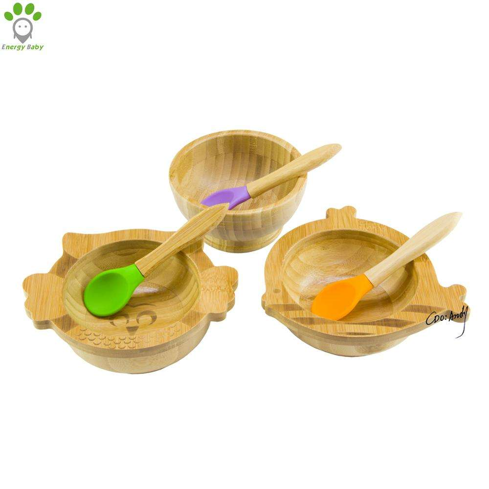 No Spill Bamboo Rice Serving Bowl Manufacturer Kid Toddler Baby Suction Bowl with Spoon