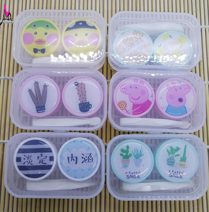 Maimeng 도매 새 Different (eiffel tower) 패턴 cute case contact lens 1 대 투명 hard contact lens storage case 와 병