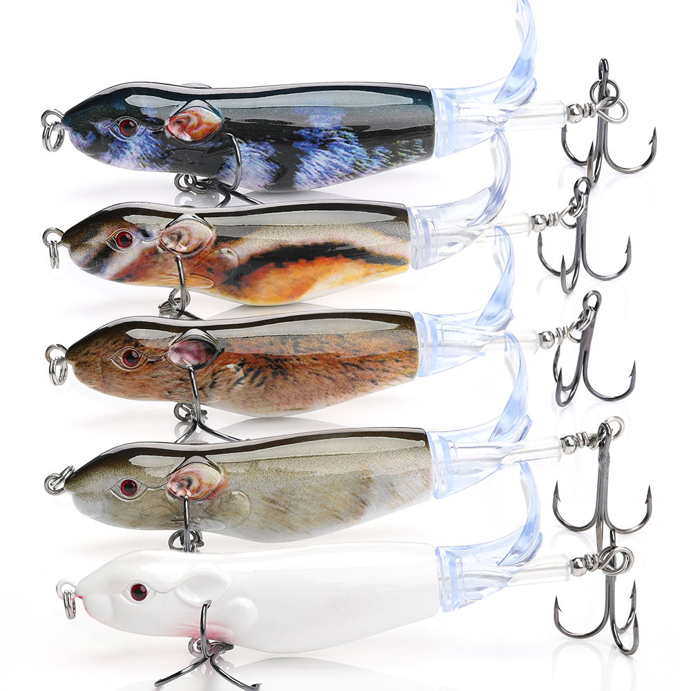 Floating Rat Fishing Lure Set Hard Bait Mouse Whopper Plopper Fishing Lures Baits New Pesca With Soft Rotating Tail Lures Fish