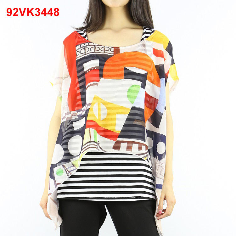 Comfortable ladies' geometric printed chiffon blouse top designs for summer season