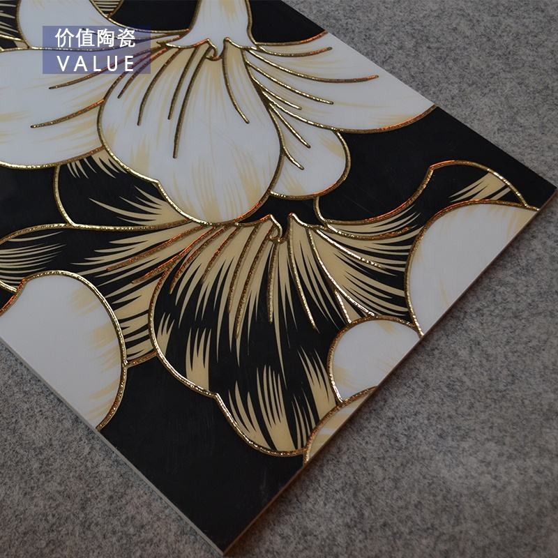 gold or silver plated deco tile,decoration flower tile