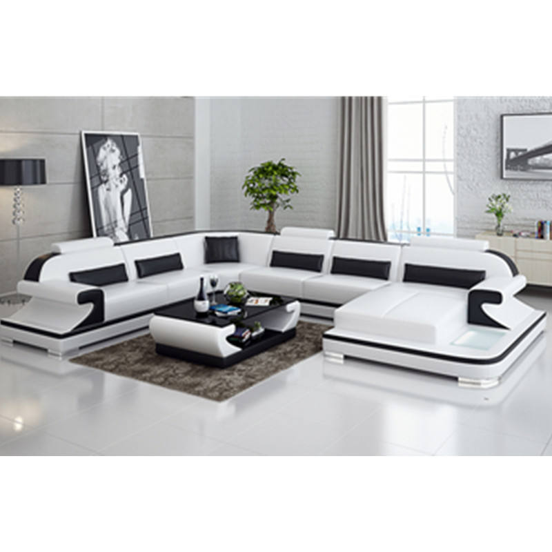 Premium Italian Style Leather Sectional sofa set living room furniture