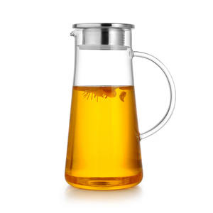 2L 68 Ounces Glass Pitcher with Lid Iced Tea Pitcher Water Jug Hot Cold Water Ice Tea Wine Coffee Milk and Juice