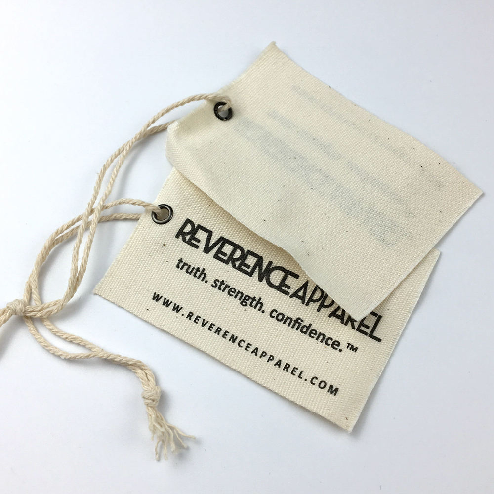 Wholesale custom canvas hang tag cotton garment fabric swing tag