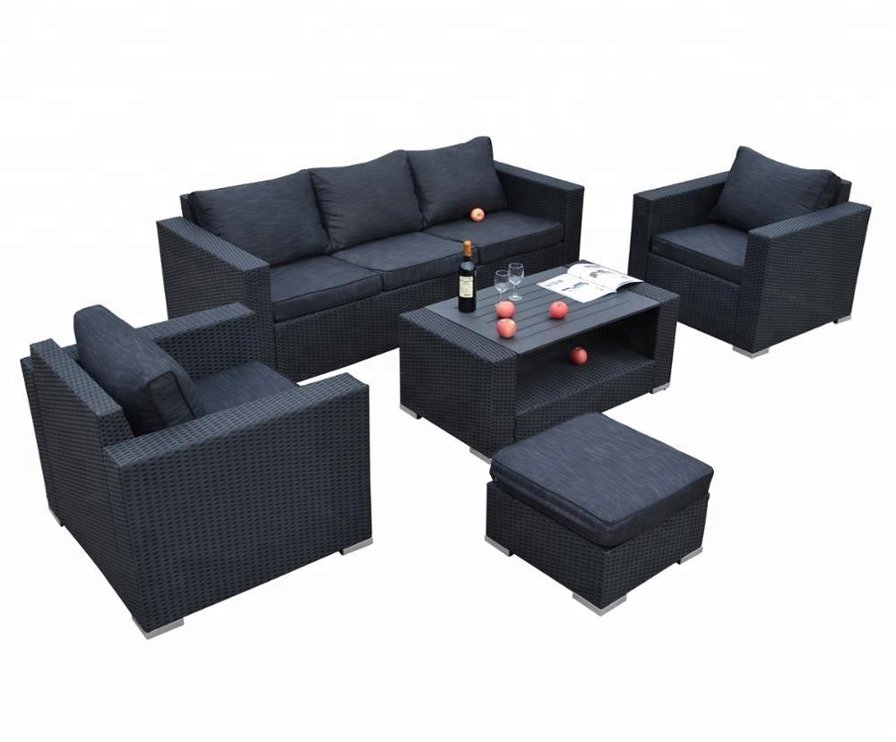 5PC Cebu Detachable Modern Outdoor Wicker Patio Rattan Furniture and Luxury Garden Sofa Set with one Ottoman