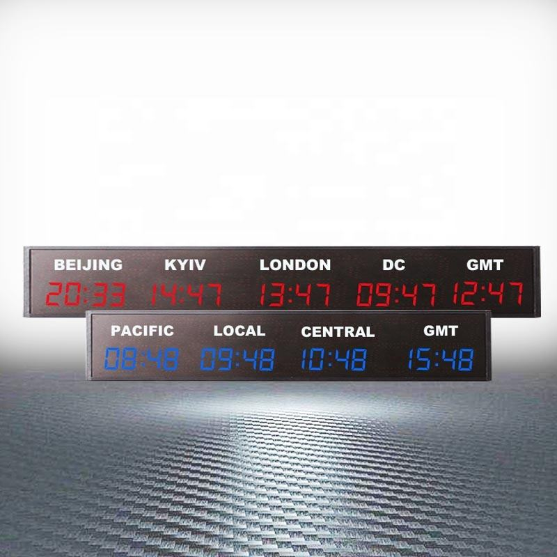 Custom 4 Cities Red Wall Mounting Digital World Time Zone Clocks