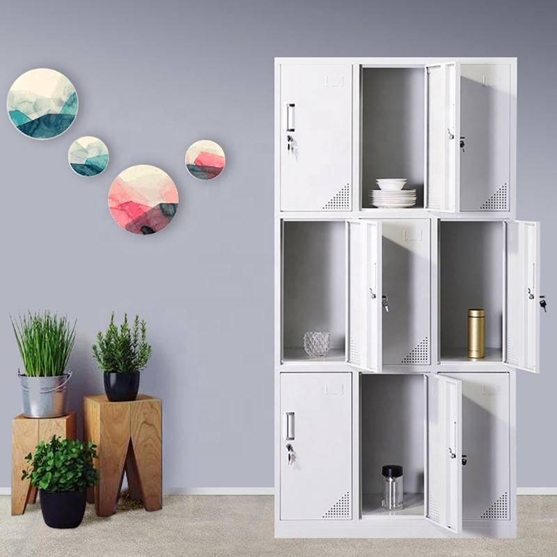 Steel 9 Cube Interlocking Modular Storage Organizer Shelving System Closet Wardrobe with Doors for Home Clothes Shoes