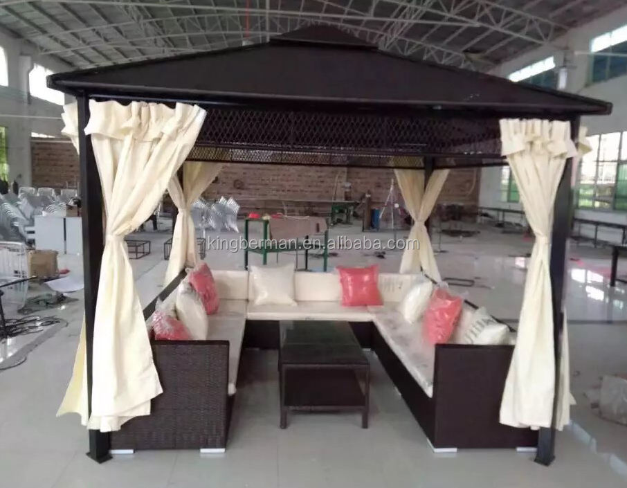 Outdoor Furniture Rattan Gazebo Tent Stackable Rattan Outdoor Wicker Patio Furniture