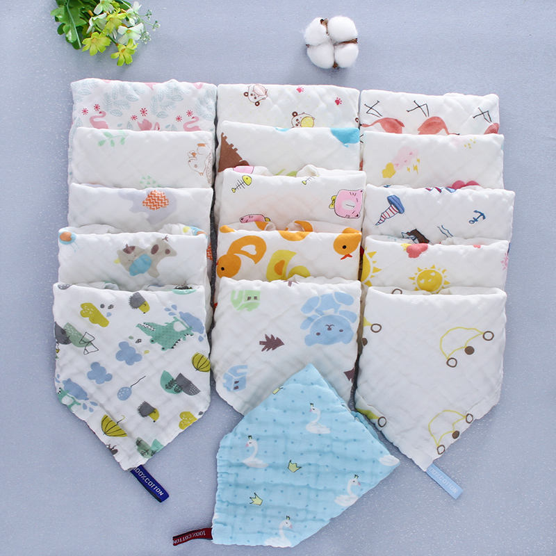 Folding printed baby towel pure cotton gauze baby slobber square towel
