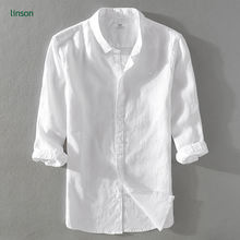 Summer fashion men's slim thin style white linen t-shirts