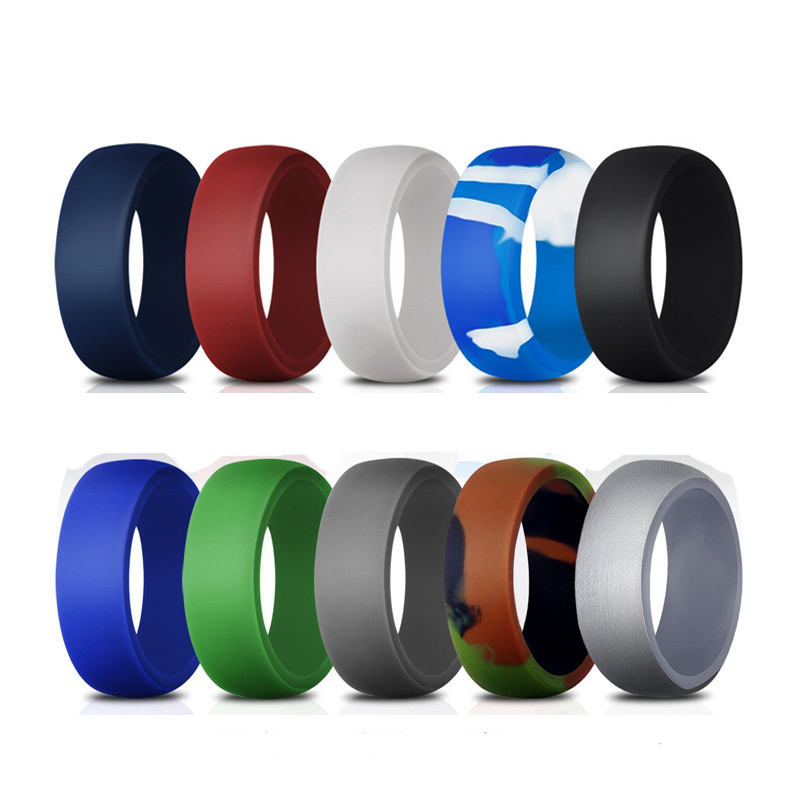 Custom silicone rubber finger wedding ring set bands jewelry rings for men