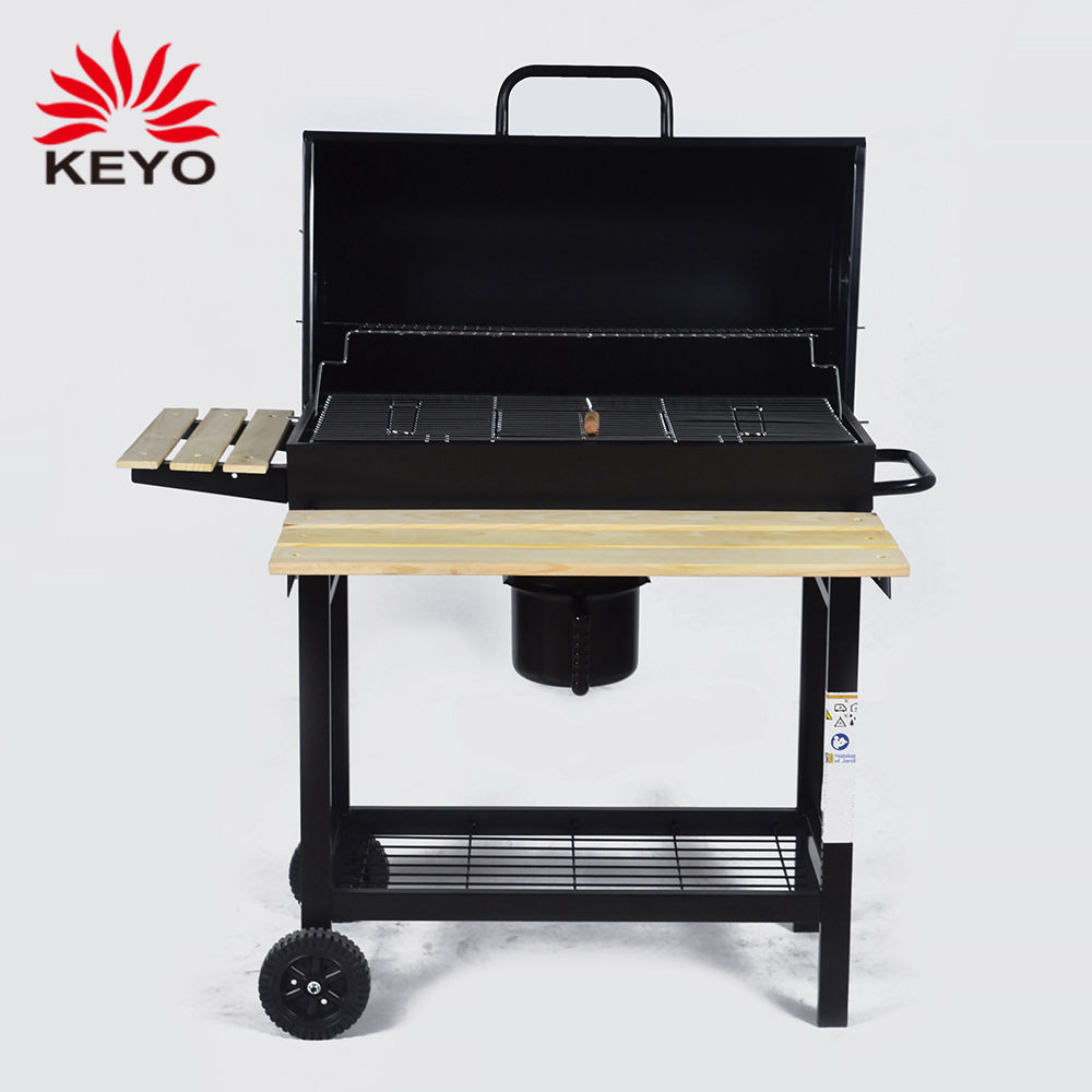 Garden Large Smoker Folding Side Table Outdoor Barrel Barbecue Grill Charcoal Grill Bbq