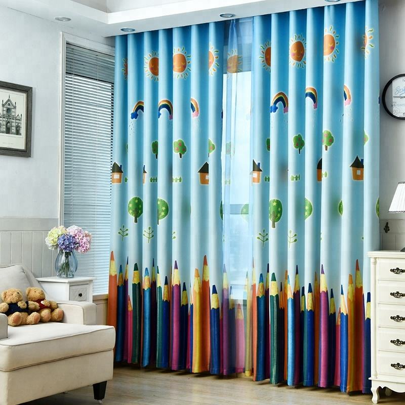 Wholesale Printed Pencil Window Blackout Drapes Kids Curtains For Living Room Bedroom decoration Black Out For Bedroom