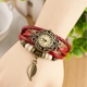 Promotion free cost for vintage lady wrist watch,wholesale quartz retro leather watch with $0.01