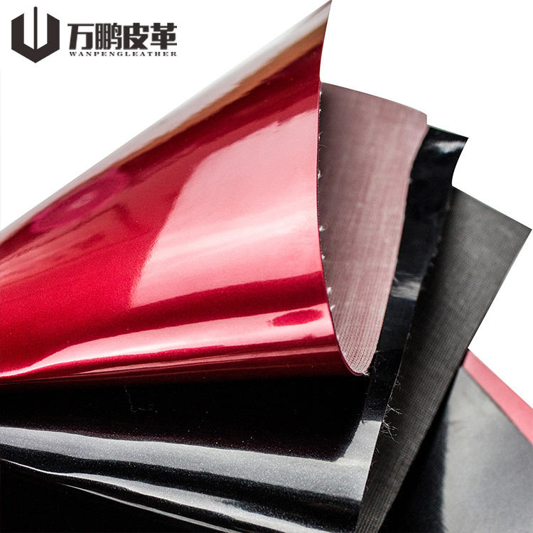 Guangzhou Finished Leather Manufacturer Selling Shimmer Glossy Lamination Finished Pvc Leather Fabric