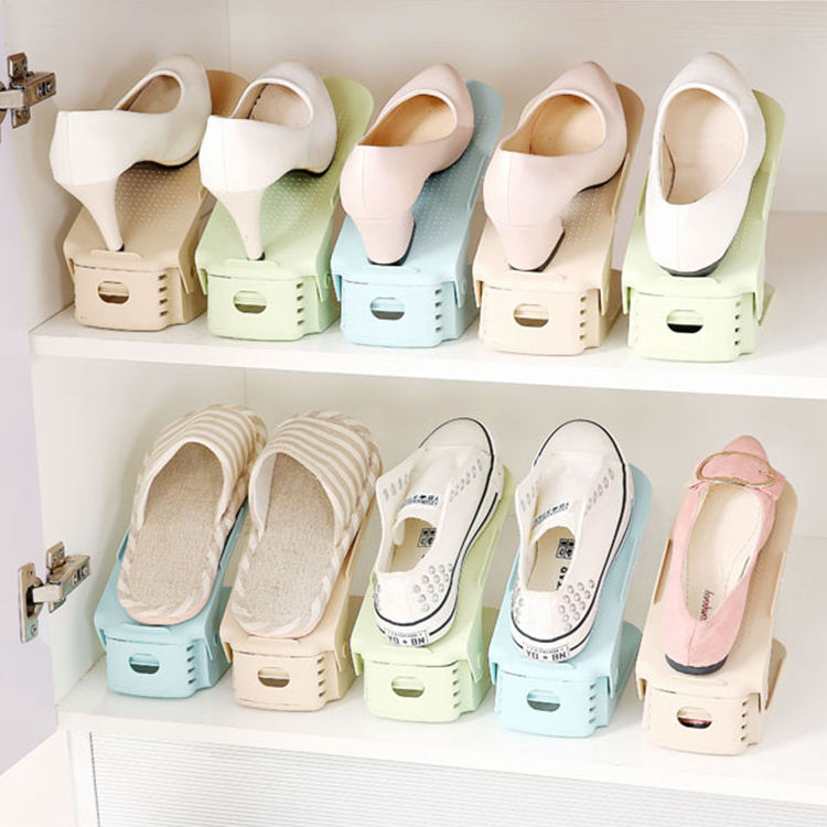 adjustable shoe slot space saver plastic double layer space saving shoes rack storage holder shoe rack organizer