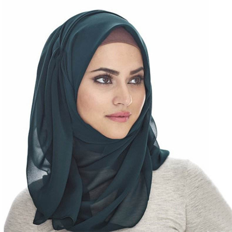 New pattern Wholesale Plain georgette scarf thick bubble heavy solid color chiffon Malaysia hijabs scarfs 2020 muslim