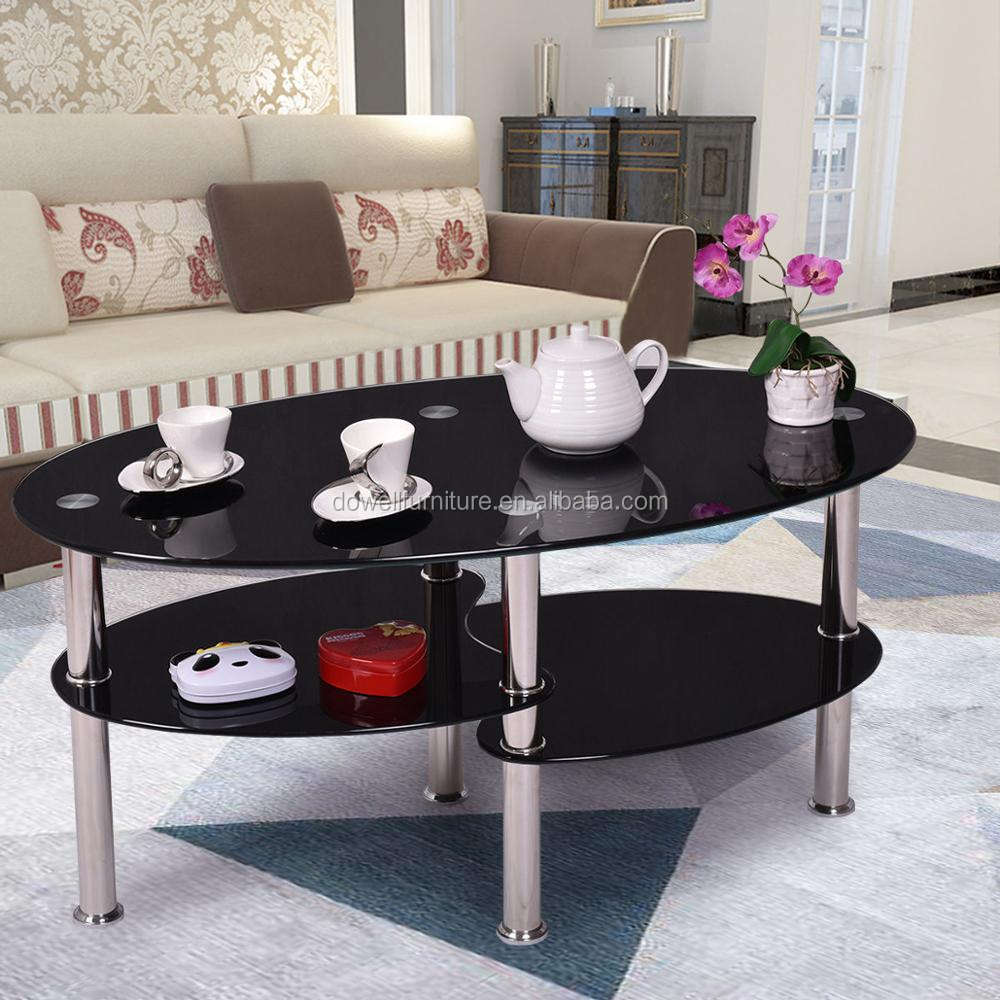 Free sample round mirrored modern fancy glass top coffee table