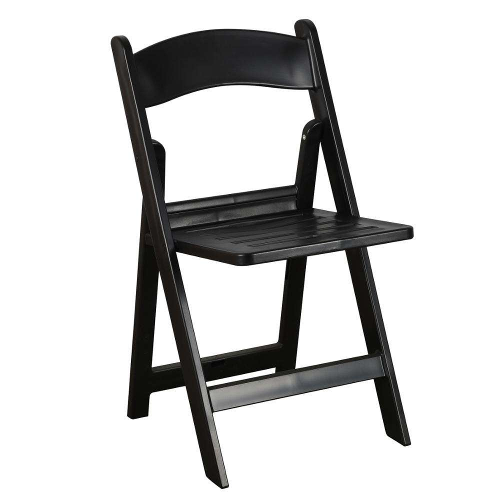 Black slat resin plastic folding chairs