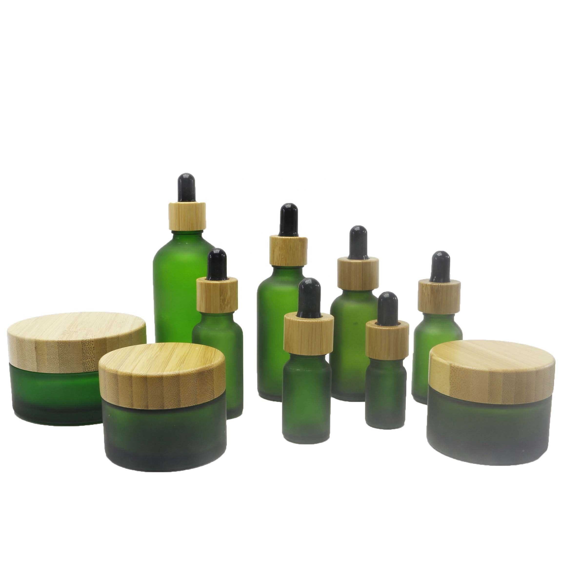 bamboo frosted green glass cosmetic jar and bottles with bamboo lid packaging TZ-01Q