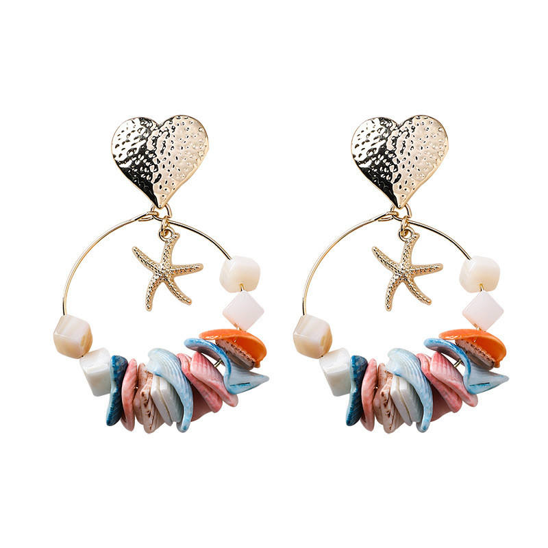 925 silver post handmade irregular colorful shell earrings personality ocean heart starfish earrings