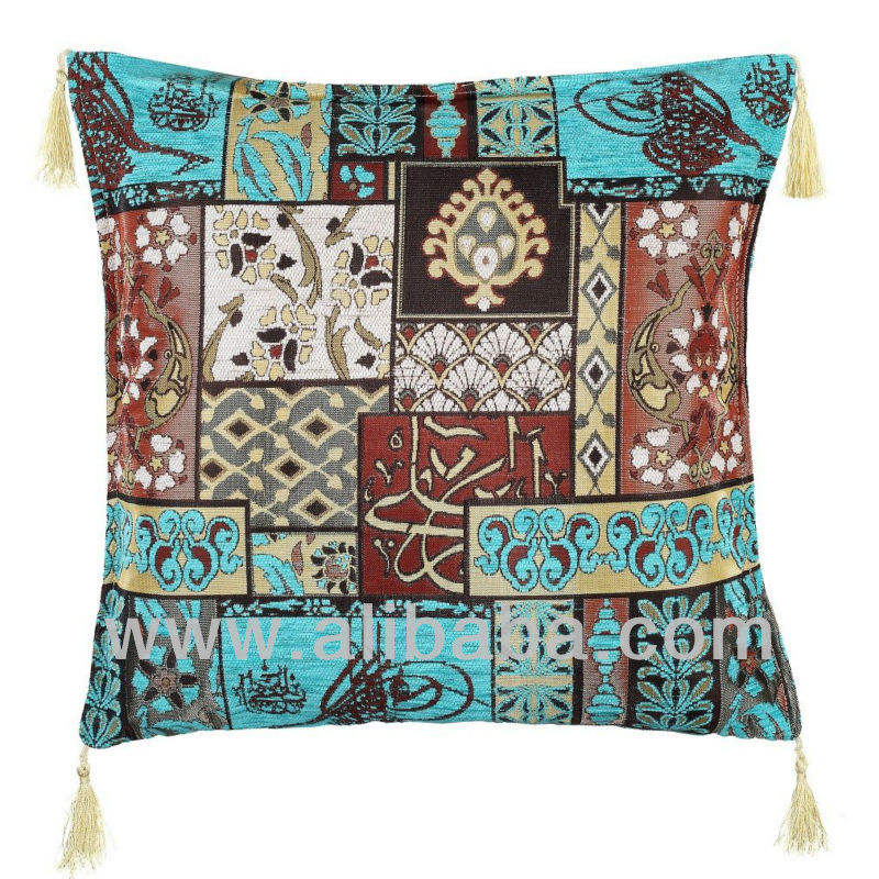 Turquoise Ottoman Design Pillow Cover 45 x 45 cm