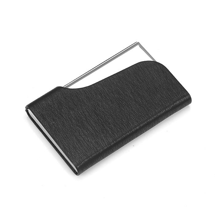 Wholesale Promotional Credit Card Holder PU Cover Metal Name Card Case