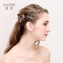 Wholesale Fancy Wedding Hair Accessories Handmade Pearl Hair Accessories Gold Leaves Wedding Headpiece For Women