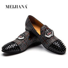 MEIJIANA Black Spikes Rhinestones Glitter Men Loafers Smoking Slipper Casual Shoes Wedding Dress Men's Flats Genuine Leather