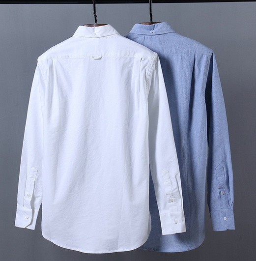 CVC/oxford stand collar shirts with long sleeves