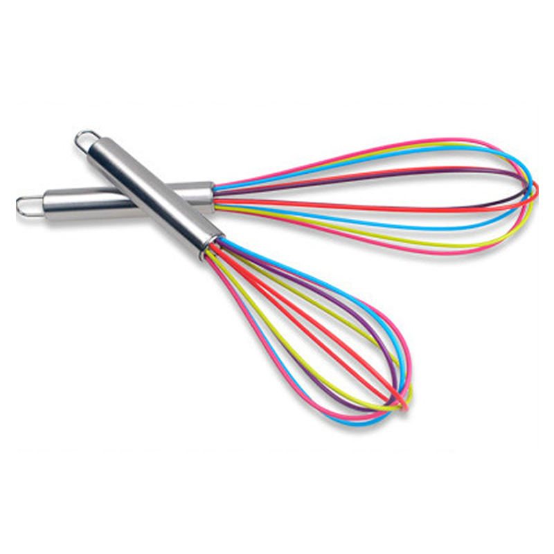 Wholesale Colorful silicone rubber whisk with steel handle