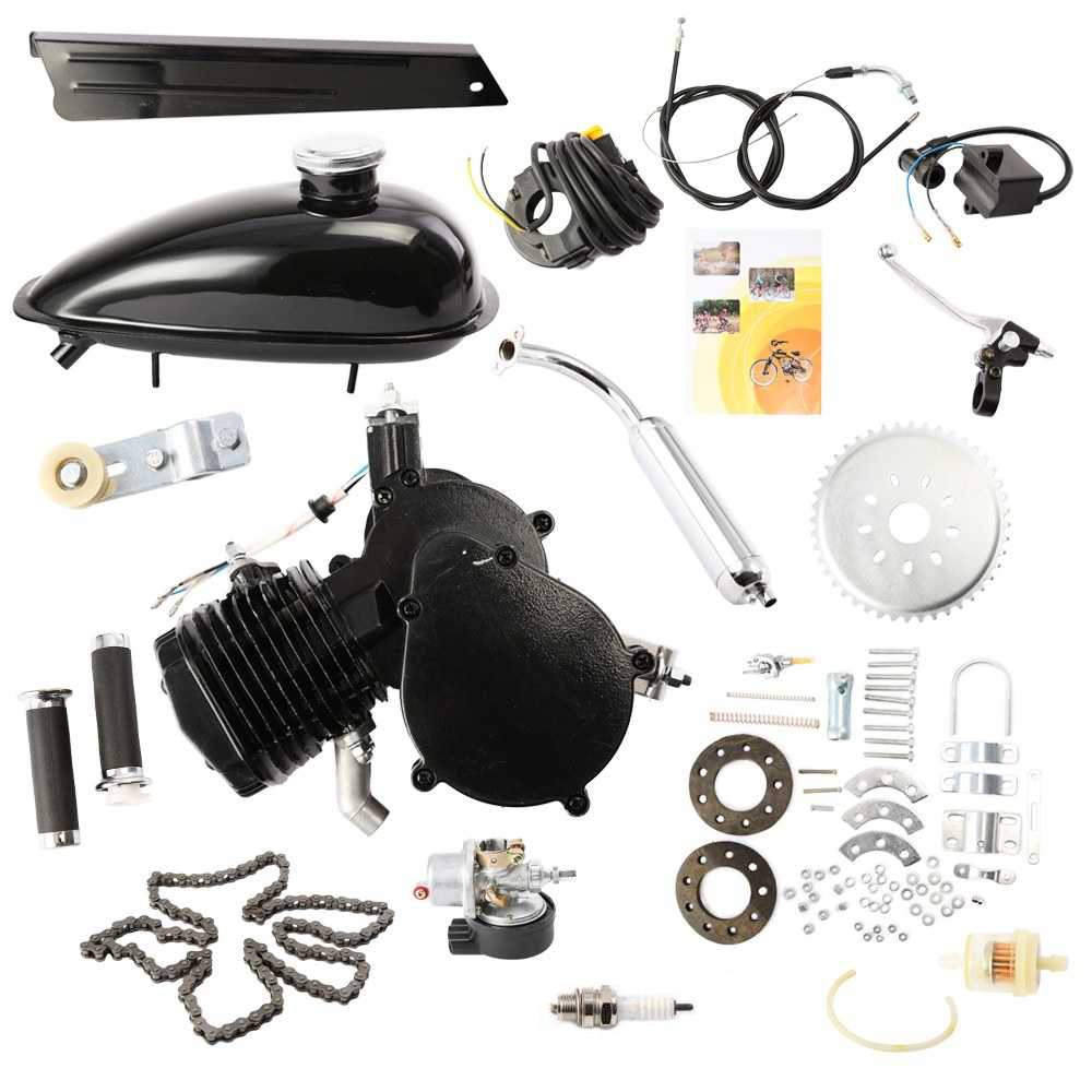 Brand New 80cc 2 Stroke Cycle Bike Bicycle Motorized Engine Kit BLACK Motor Chrome Muffler