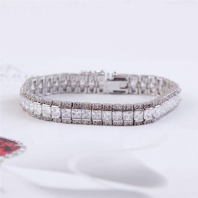 New coming crazy selling silver rectangle tennis bracelet