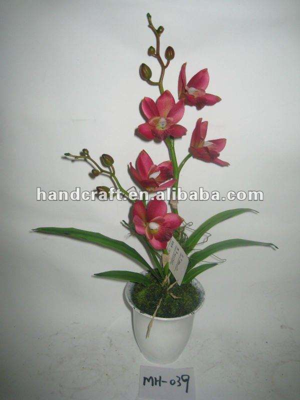 2016 Newest Small Two Stems Artificial Silk Potted Cymbidium Orchid MH-039