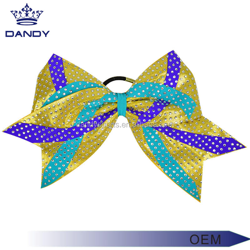 Cheerleading team meisjes haaraccessoires custom glitter gold cheer bows