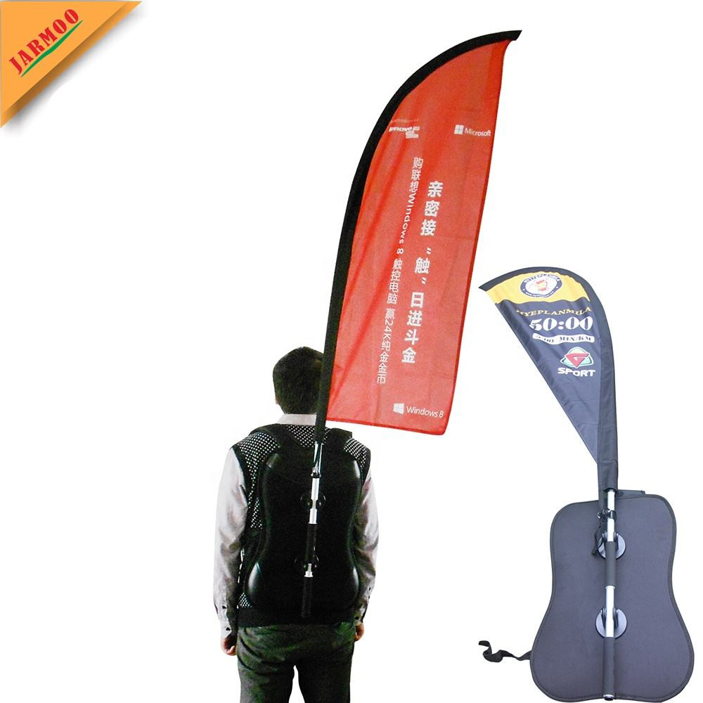 Custom Outdoor Advertising X Shape backpack flag With Aluminium And Fibreglass Flagpole