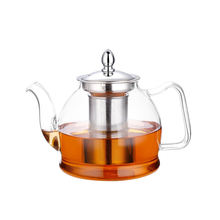 1000ML Handmade Food Grade Borosilicate Glass Tea Pot With Stainless Steel Strainer